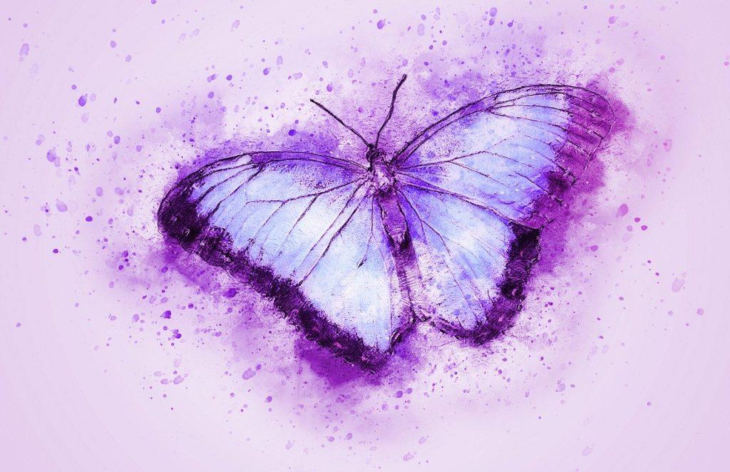 lila pillangó akvarell