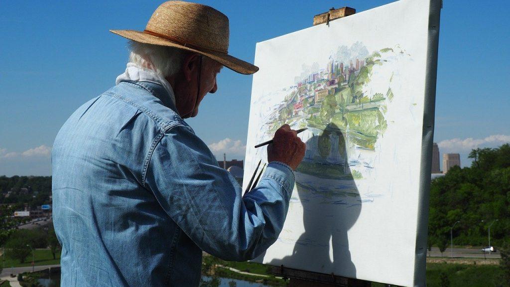 festő a természetben