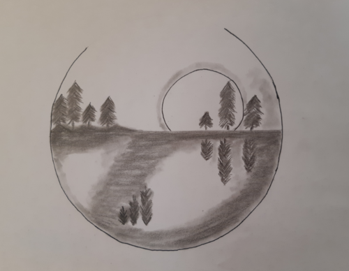 tájkép rajz