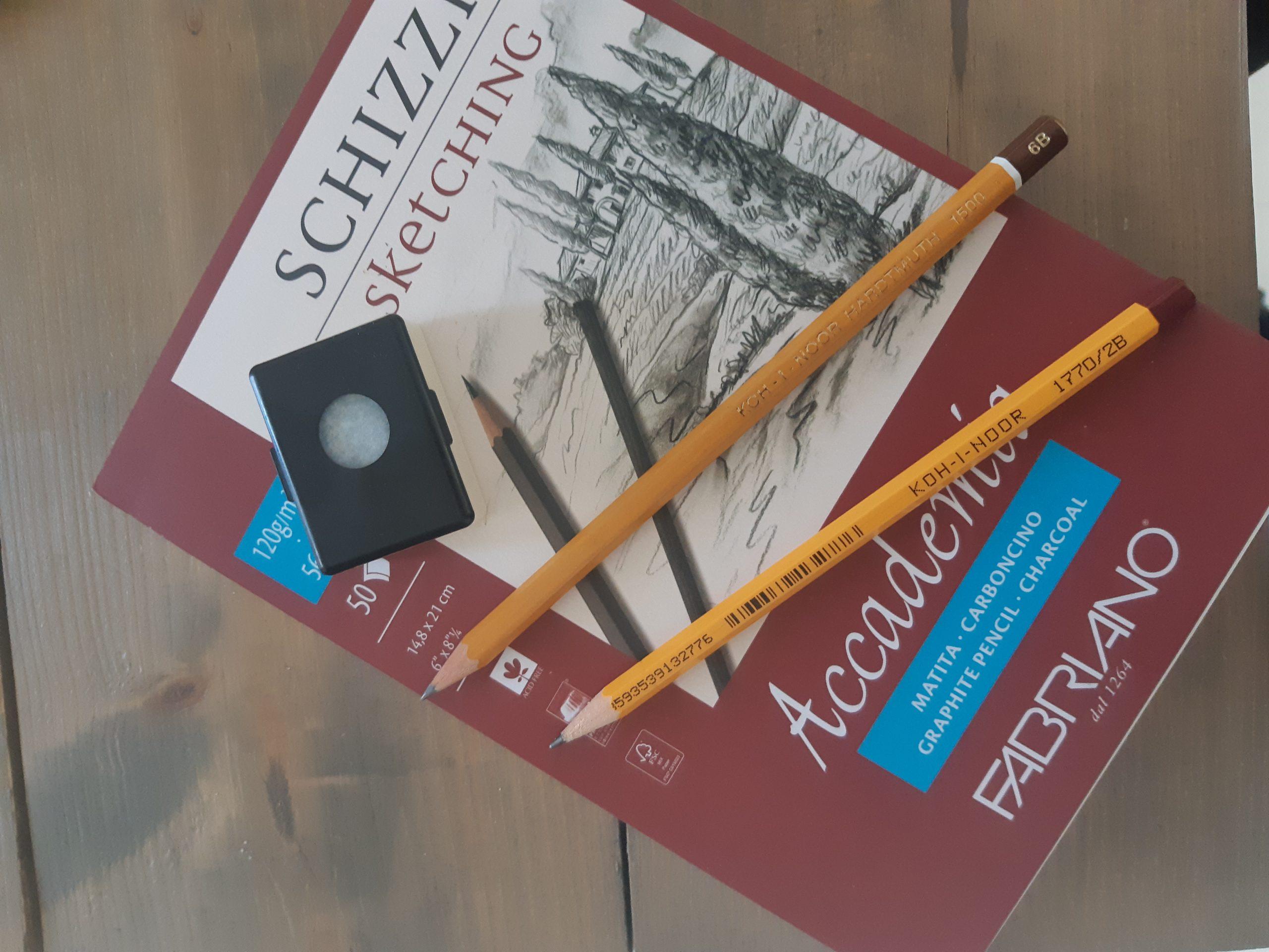 ceruzák, rajztömb, radír