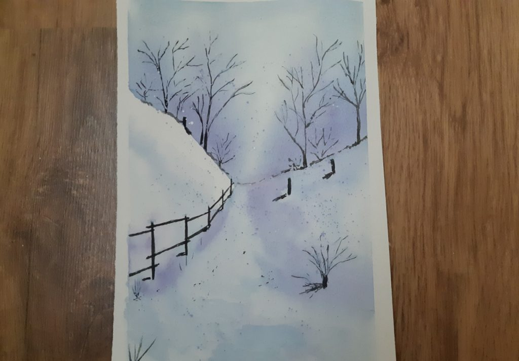 téli táj akvarell