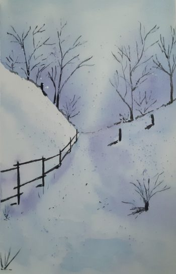 téli táj akvarell technikával festve