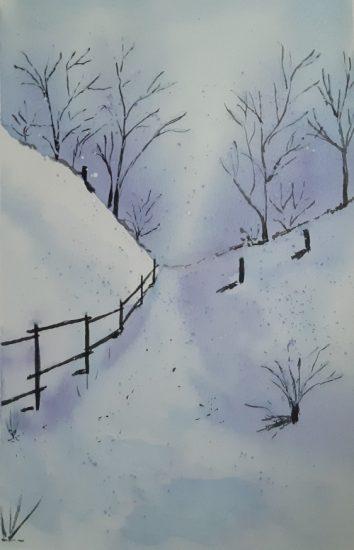 Téli tájkép festése
