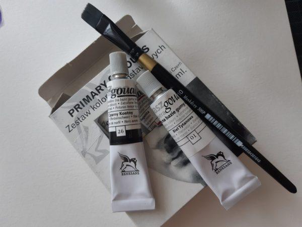 fekete fehér gouache festék