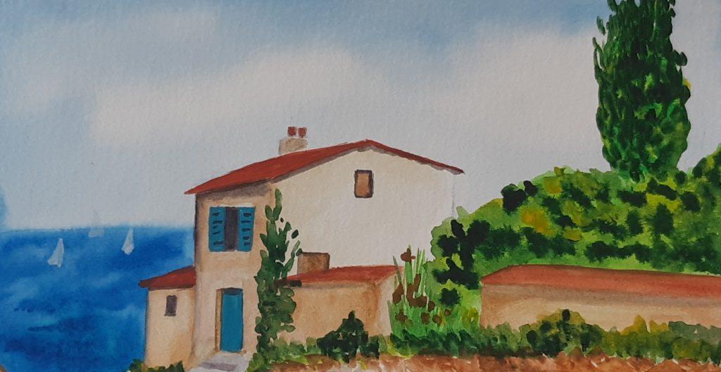 toszkán falu akvarell