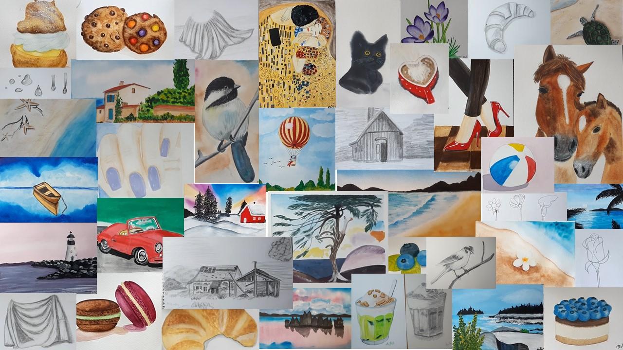 Akvarellfestés, grafitceruzás rajz, gouache festés