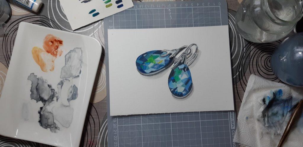 fülbevalók akvarell gouache festékkel festve