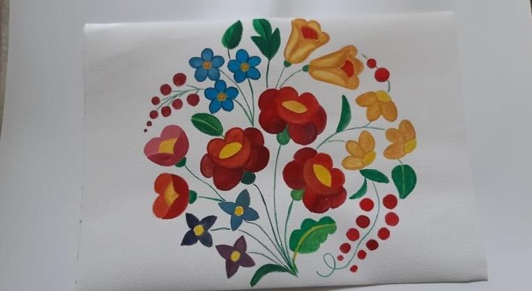 virág motívum gouache festékkel vászonra festve